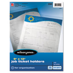 Wilson Jones 21441: Top-Loading Job Ticket Holder, Nonglare Finish, 9 x 12, Clear / frosted, 10 / pack