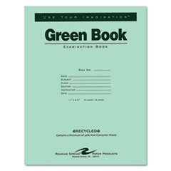 Roaring Spring 77509: Green Books Exam Books, Stapled, Wide Rule, 11 x 8 1/2, 8 Sheets / 16 Pages