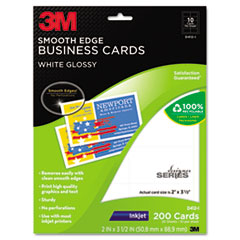3M D412I: Inkjet Glossy Business Cards, 2 x 3 1/2, White, 200 per pack