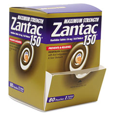 Zantac BXZA80: Maximum Strength 150mg Acid Reducer, 1 per Pack, 80 Packs / Box