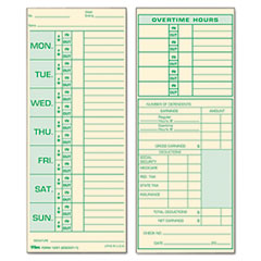 TOPS Forms 1291: Time Card for Pyramid Model 331-10, Weekly, Two-Sided, 3 1/2 x 8 1/2, 500 / Box