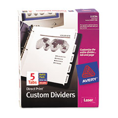 Avery 11534: Direct Print Punched Presentation Dividers, 5-Tab, Letter, White, 24 Sets / Box