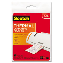 Scotch TP590220: Index Card Size Thermal Laminating Pouches, 5 mil, 5 3/8 x 3 3/4, 20 / Pack
