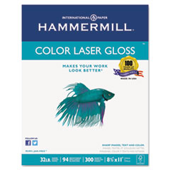 Hammermill 163110: Color Laser Gloss Paper, 94 Brightness, 32lb, 8-1/2 x 11, White, 300 Sheets / Pack