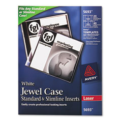 Avery 5693: Laser CD / DVD Jewel Case Inserts, Matte White, 20 / Pack