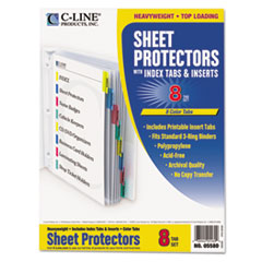 C-Line 05580: Poly Sheet Protectors with Index Tabs, Assorted Color Tabs, 11 x 8 1/2, 8 per set
