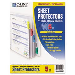 C-Line 05550: Poly Sheet Protectors with Index Tabs, Assorted Color Tabs, 11 x 8 1/2, 5 per set