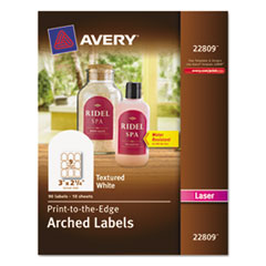 Avery 22809: Textured Arched Easy Peel Labels, 3 x 2-1/4, White, 90 / Pack