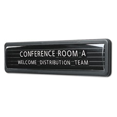 Quartet 9003: Magnetic Nameplate, Desk / Wall / Door, Black / Dark Gray Base, 13.1 x 3