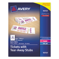 Avery 16154: Printable Tickets with Tear-Away Stubs, 8 1/2 x 11, White, 10 / Sheet, 20Sheets / Pack