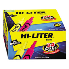Hi-Liter 98189: Desk Style Highlighter, Assorted Ink, Chisel, 24 per Pack