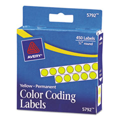 Avery 05792: Permanent Self-Adhesive Round Color-Coding Labels, 1/4 Dia, Yellow, 450 / pack