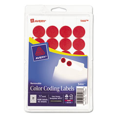 Avery 05466: Printable Removable Color-Coding Labels, 3/4 Dia, Red, 1008 / pack