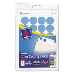 Avery 05461: Printable Removable Color-Coding Labels, 3/4 dia, Light Blue, 1008 / Pack