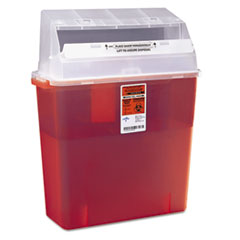Medline Industries MDS705203H: Sharps Container for Patient Room, Plastic, 3gal, Rectangular, Red
