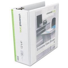 Universal 20994: Economy D-Ring View Binder, 4 Capacity, White