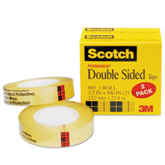 Scotch 6652PK: 665 Double-Sided Tape, 1/2 x 900, 1 Core, Clear, 2 / Pack
