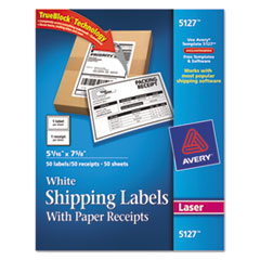 Avery 5127: Shipping Labels with Paper Receipt, 5 1/16 x 7 5/8, White, 50 / Pack