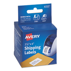 Avery 4153: Thermal Printer Labels, Shipping, 2-1/8 x 4, White, 140 / Roll, 1 Roll / Box