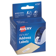 Avery 4150: Thermal Printer Labels, Address, 1-1/8 x 3-1/2, White, 260 Labels / Box