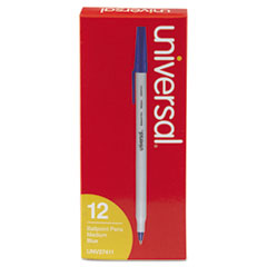 Universal 27411: Economy Ballpoint Stick Oil-Based Pen, Blue Ink, Medium, Dozen