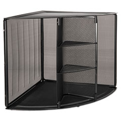 Rolodex 62630: Mesh Corner Desktop Shelf, Five Sections, 20 x 14 x 13, Black