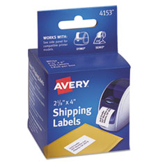 Avery 4153: Thermal Printer Labels, Shipping, 2 1/8 x 4, White, 140 / Roll, 1 Roll / Box