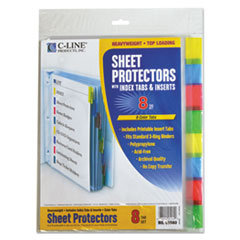 C-Line 05580: Sheet Protectors with Index Tabs, Assorted Color Tabs, 2, 11 x 8 1/2, 8 / st