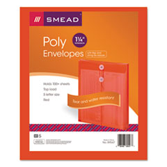 Smead 89547: Poly String Button Envelope, 9 3/4 x 11 5/8 x 1 1/4, Red, 5 / Pack