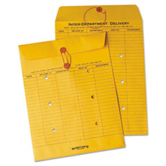 Quality Park 63560: Brown Recycled Kraft String Button Interoffice Envelope, 10 x 13, 100 / carton
