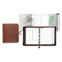 Day-Timer 81844: Aviator Lthr. Zip Organizer Starter Set Monthly 8 1/2 x 11 7-ring Dark Tan Leather, Vinyl