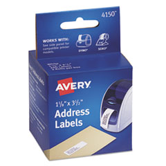 Avery 4150: Thermal Printer Address Labels, 1 1/8 x 3 1/2, White, 130 / Roll, 2 Rolls