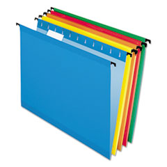Pendaflex 615215ASST: Poly Laminate Hanging Folders, Letter, 1/5 Tab, Assorted, 20 / box