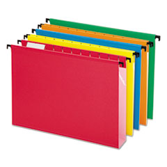 Pendaflex 6152X2ASST: Poly Laminate Hanging Folders, 1/5 Tab, 2 Expansion, Letter, Assorted, 20 / box