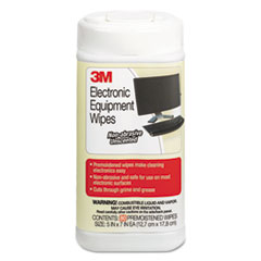 3M CL610: Electronic Equipment Cleaning Wipes, 5 1/2 x 6 3/4, White, 80 / canister