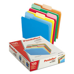 Pendaflex 421013ASST: Interior File Folders, 1/3 Cut Top Tab, Letter, Bright Assortment, 100 / box