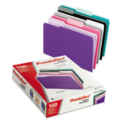 Pendaflex 421013ASST2: Interior File Folders, 1/3 Cut Top Tab, Letter, Pastel Assortment, 100 / box