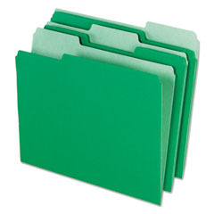 Pendaflex 421013BGR: Interior File Folders, 1/3 Cut Top Tab, Letter, Bright Green, 100 / box