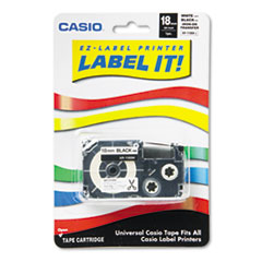Casio XR118BKS: Label Printer Iron-On Transfer Tape, 18mm, Black on White