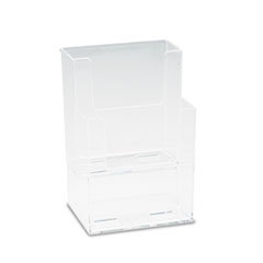 Deflect-o 77201: Extra-Deep Flat Back Display, Two Compartments, 4-1/2w x 3-3/4d x 7h, Clear