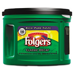 Folgers 00374CT: Ground Coffee, Classic Roast Decaffeinated, Ground, 22 3/5oz, Can, 6 / Carton