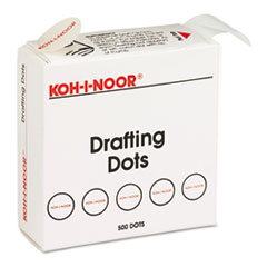 Koh-I-Noor 25900J01: Adhesive Drafting Dots with dispenser, 7/8in Dia, White, 500 / box