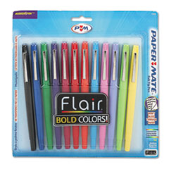 Papermate 74423: Point Guard Flair Bullet Point Stick Pen, Assorted Ink, 1.4mm, Dozen