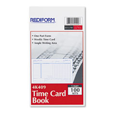 Rediform 4K409: Employee Time Card, Weekly, 4-1/4 x 7, 100 / pad