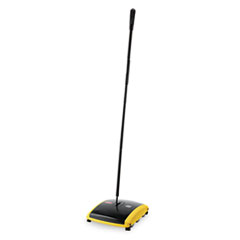 Rubbermaid 421388BLA: Dual Action Sweeper, Boar / Nylon Bristles, 44 Steel / Plastic Handle, Black / Yellow