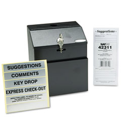 Safco 4232BL: Steel Suggestion / Key Drop Box with Locking Top, 7 x 6 x 8 1/2