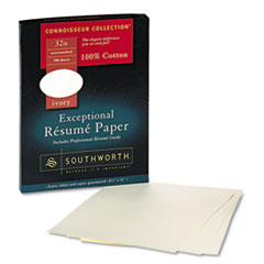 Southworth RD18ICF: 100 Cotton Resume Paper, 32 lbs., 8-1/2 x 11, Ivory, Wove, 100 / Box