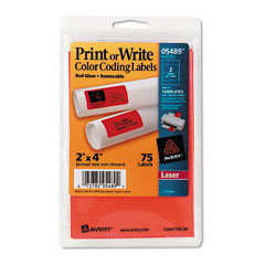 Avery 05489: Print Or Write Removable Color-Coding Laser Labels, 2 x 4, Neon Red, 76 / Pack