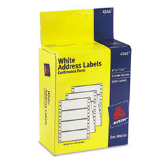 Avery 4146: Dot Matrix Mailing Labels, 1 Across, 1 7/16 x 4, White, 1000 / Box