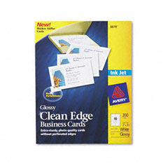 Avery 8879: Clean Edge Business Cards, Inkjet, 2 x 3-1/2, Glossy White, 200 per pack